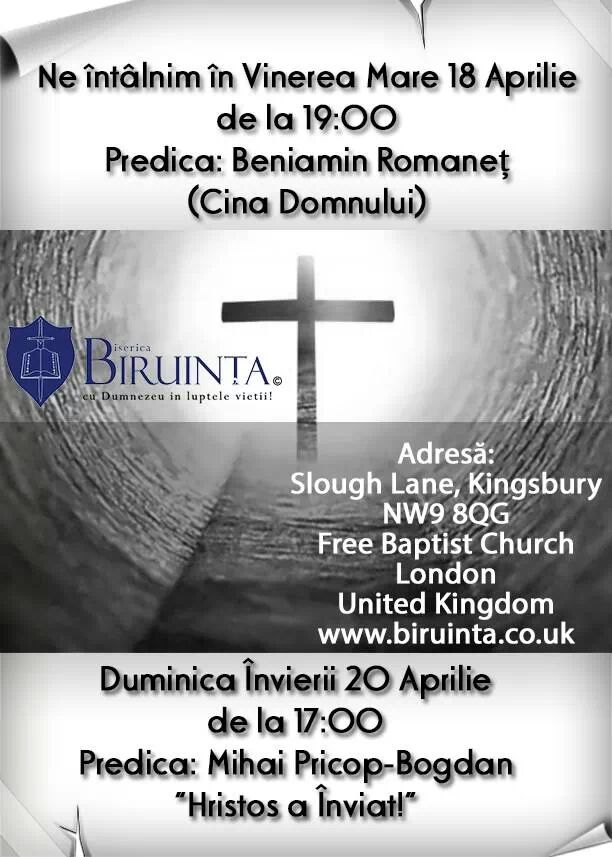 Program Paste - Biserica Biruinta Londra