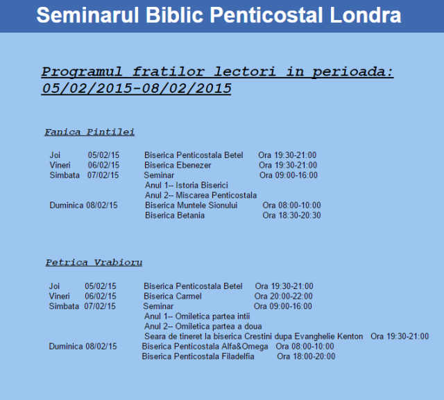 seminarul biblic penticostal