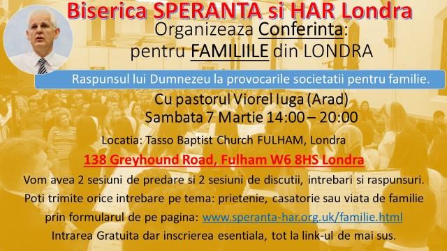 Conferinta Familii - Biserica SPERANTA si HAR Londra