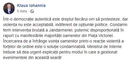 Presedintele Klaus Iohannis condamna actiunile jandarmilor si cere explicatii.
